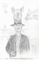 The Pig Farmer of Burgage Field, pencil on A4 paper, 2020