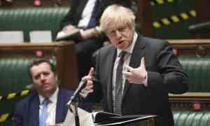 Boris Johnson speaks during the debate in the House of Commons on the EU bill. Photograph: Jessica Taylor/AP