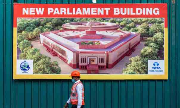 The new Indian Parliament House construction site in 2020. Photograph: Jewel Samad/AFP/Getty Images