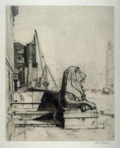'The New Lion, British Museum, London,' 1913. Drypoint, 26.6 x 21.5 cm