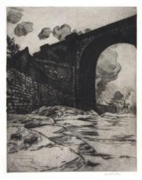 'Dark Arch, Runcorn Bridge,' etching, 11 3/4 X 9 1/4 inches