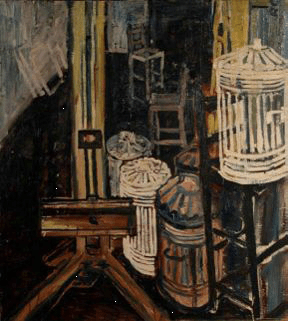 JOHN BRATBY Dustbins in the Studio, 1954, 112 x 101 cm, Royal College of Art Collection