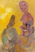 Three figures, yellow sky, Late 1970's. Oil on panel, 80 x 55 cm