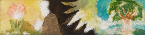 Horizontal, Flower and Tree with Yellow Sun, 1992-3, acrylic on board, 28 x 144.5 cm