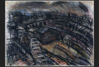 Leon Kossoff, Railway Landscape near King's Cross, Spitalfields, Spring, 1992, Gouache on paper, 55.6 x 76.2 cm © Leon Kossoff. Schlee Collection, Southampton.