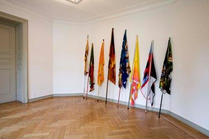 Alexandre da Cunha, Velour Series, 2005-06. Installation view, Revolution des Altäglichen, Museum Morsbroich, Leverkusen. Courtesy the artist and Thomas Dane Gallery, London