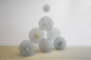 Facts of Life - Birth, Baptism, Bitch, Domesticity, Disappear, Death, 2014, steel wire and found object, 140 x 152 x 46 cm