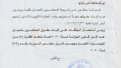 Photo of بناءً على مخاطبة محافظ بغداد..  الأمانة العامة لمجلس الوزراء تطالب البرلمان بتضمين حقوق المحاضرين ضمن موازنة 2021
