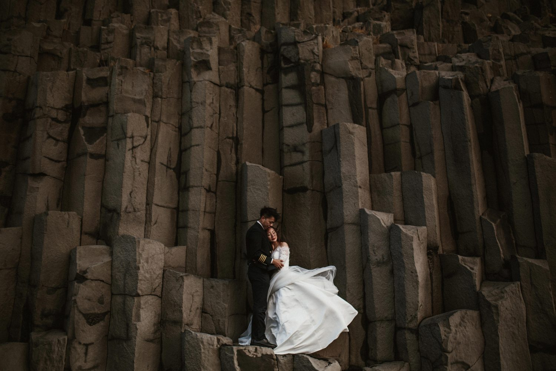Iceland pre-wedding, basalt columns