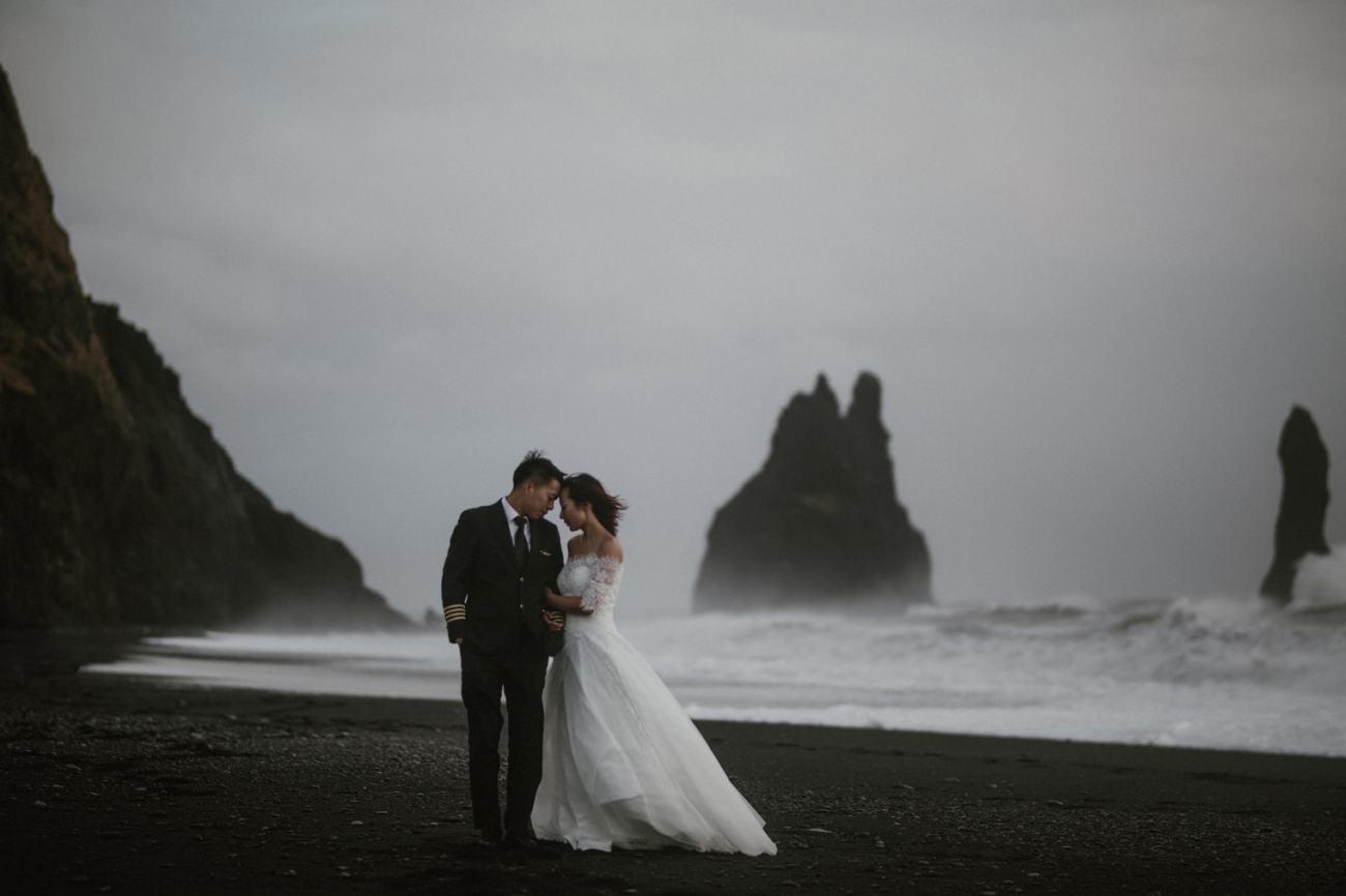 Iceland black sand beach elopement