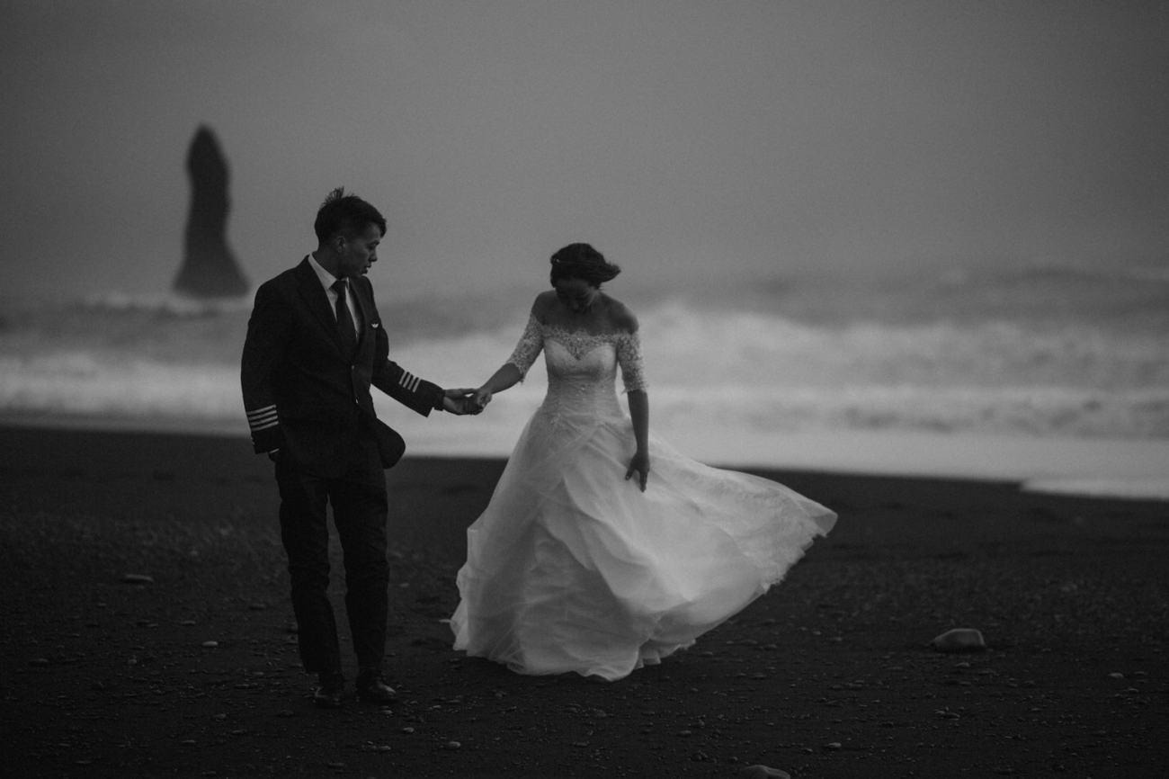 Iceland elopement black sand beach