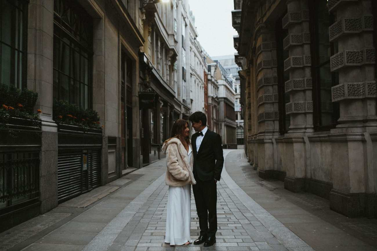 Bride and groom during wedding portraits in london