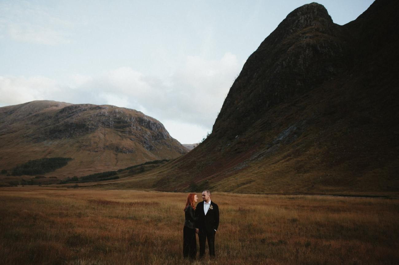 scottish highlands elopement with bride in black jumpsuit