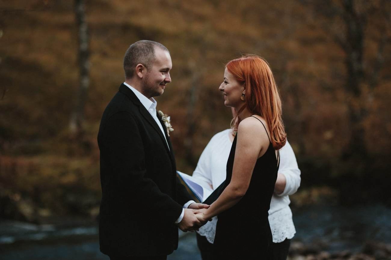 autumn elopement in the scottish highlands ceremony