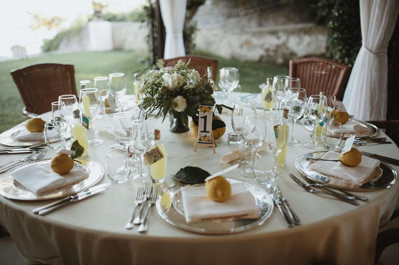 Wedding table details for Ravello Wedding held at Villa Eva
