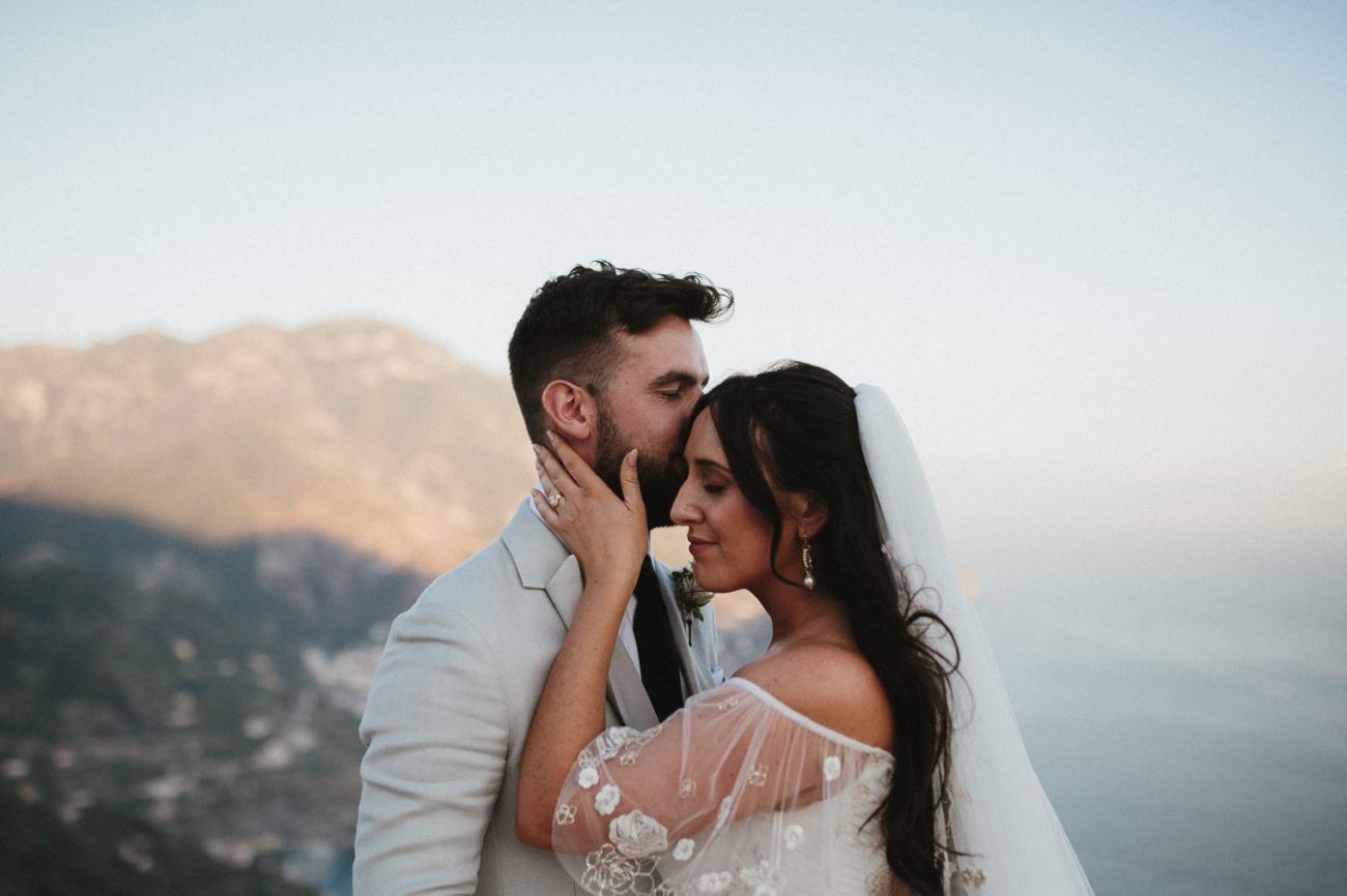 Bride and Groom looking over coast during their Amalfi Coast wedding in Ravello