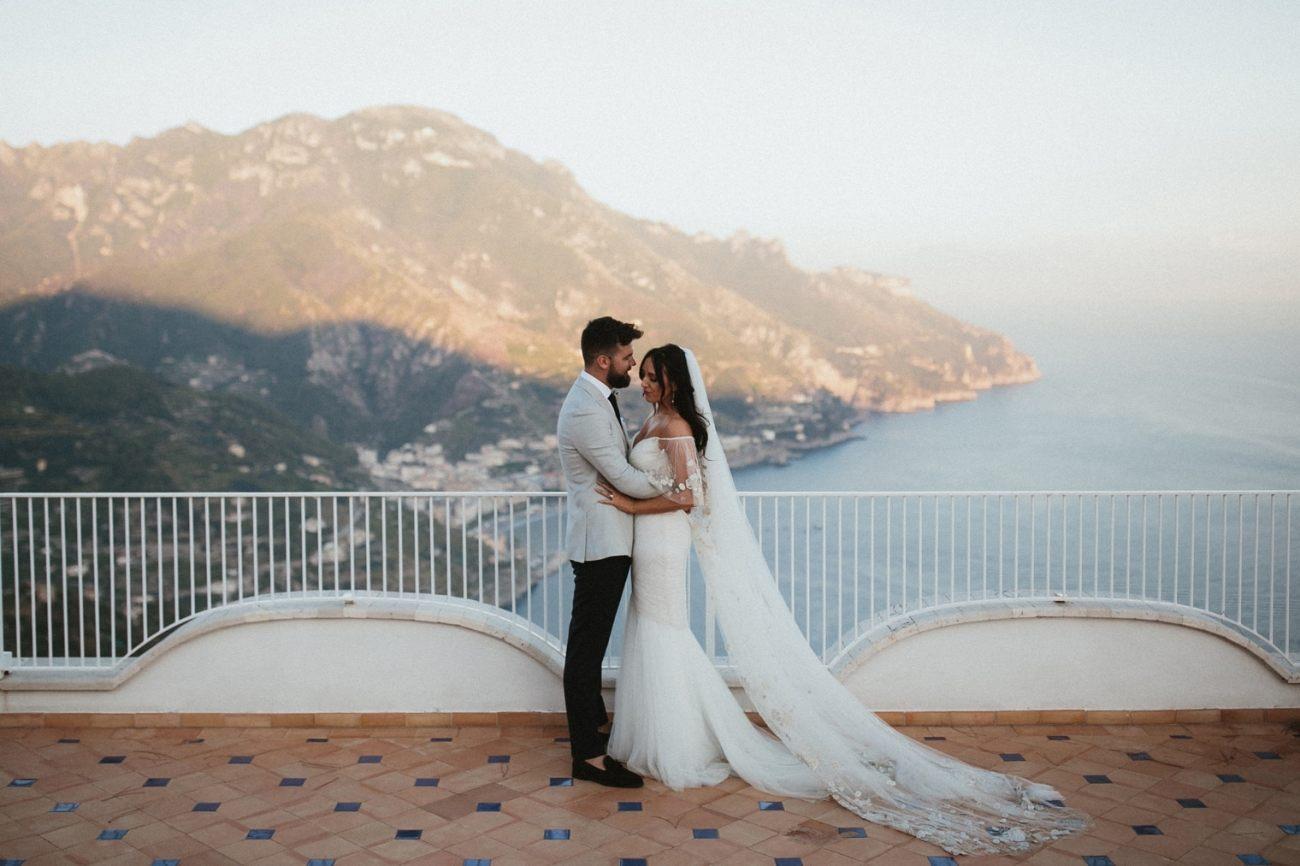 Bride and Groom overlooking Amalfi Coast in Italy
