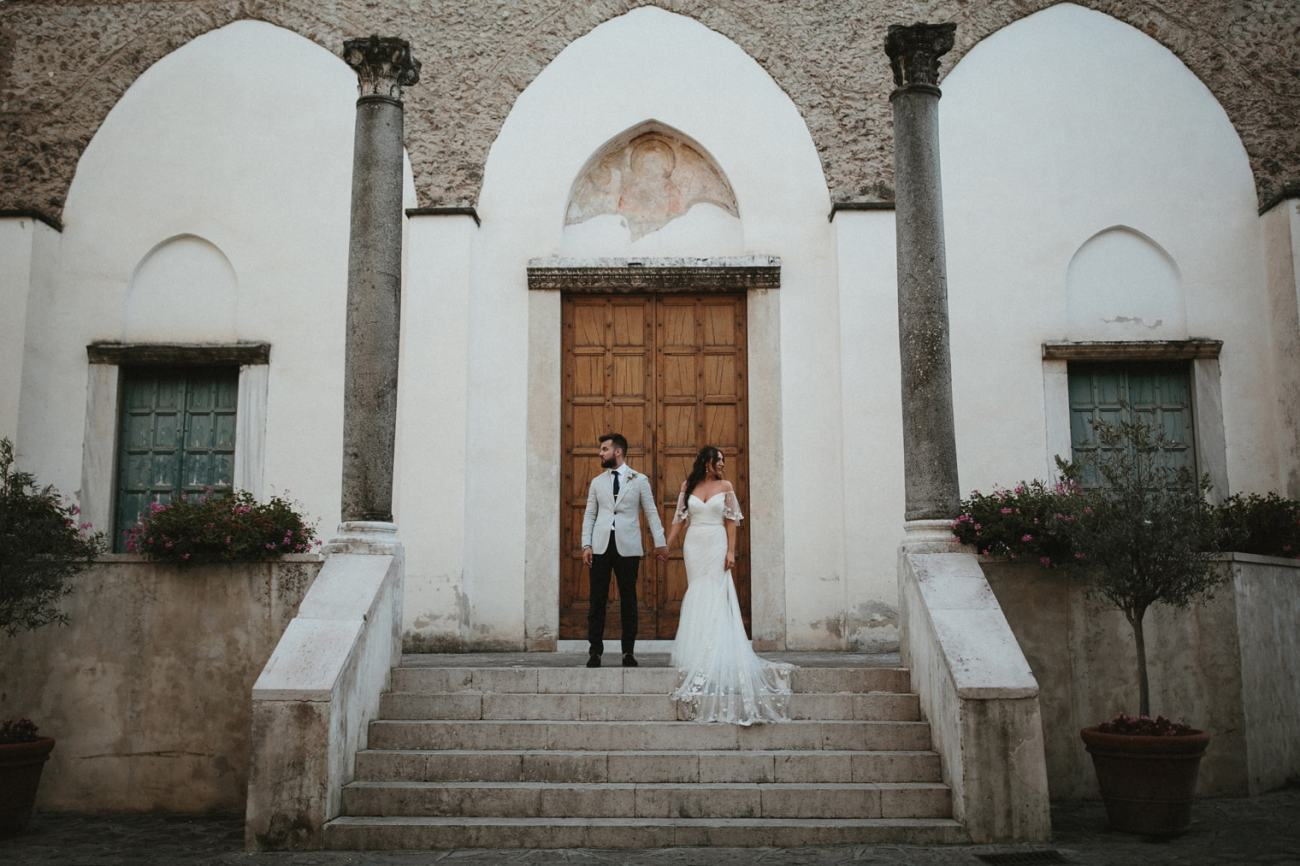 Bride and Groom in Ravello during their Ravello Wedding celebrations