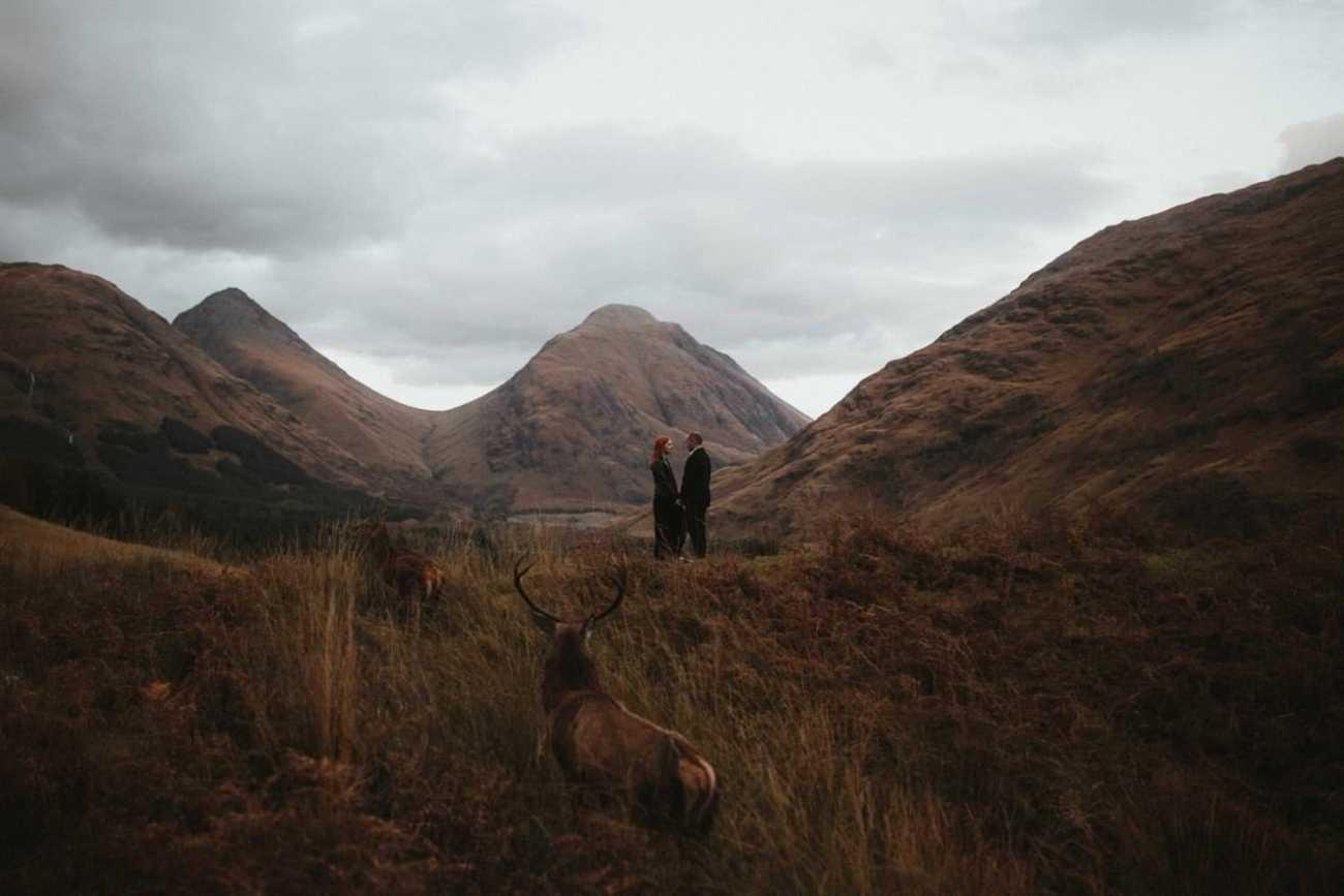 Couple eloping in Scotland in Glencoe