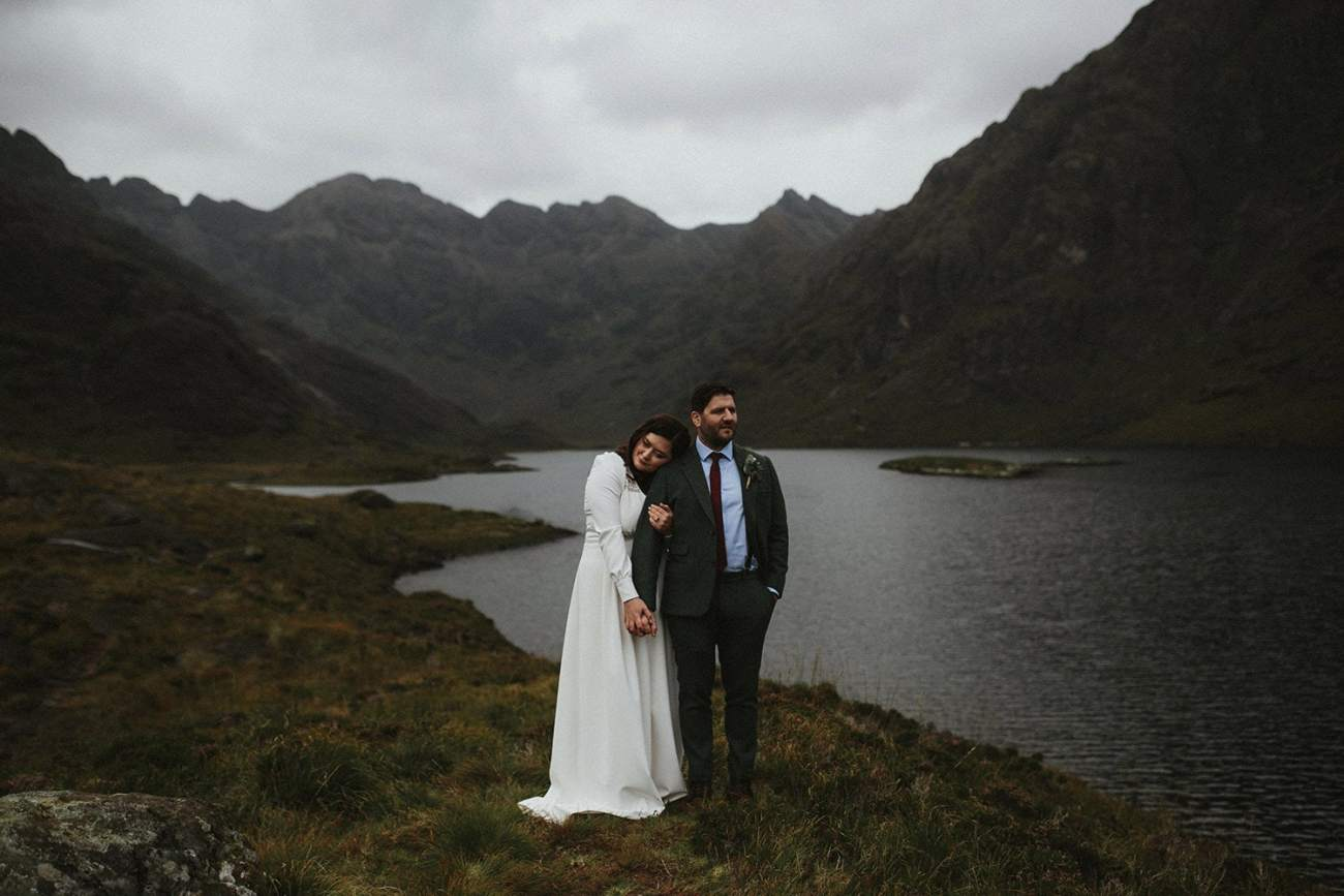 Couple eloping at loch Coruisk in Isle of Skye, Scotland
