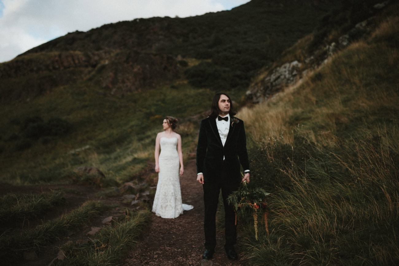 Bride and Groom portraits in Holyrood Park, Scotland
