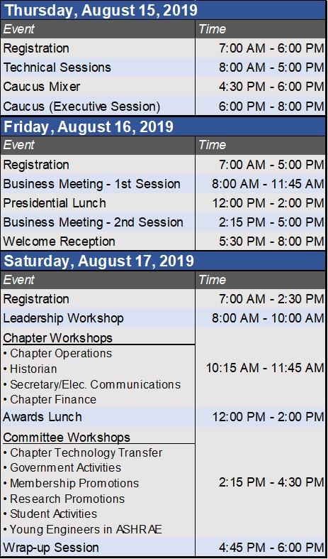 CRC2019 Schedule