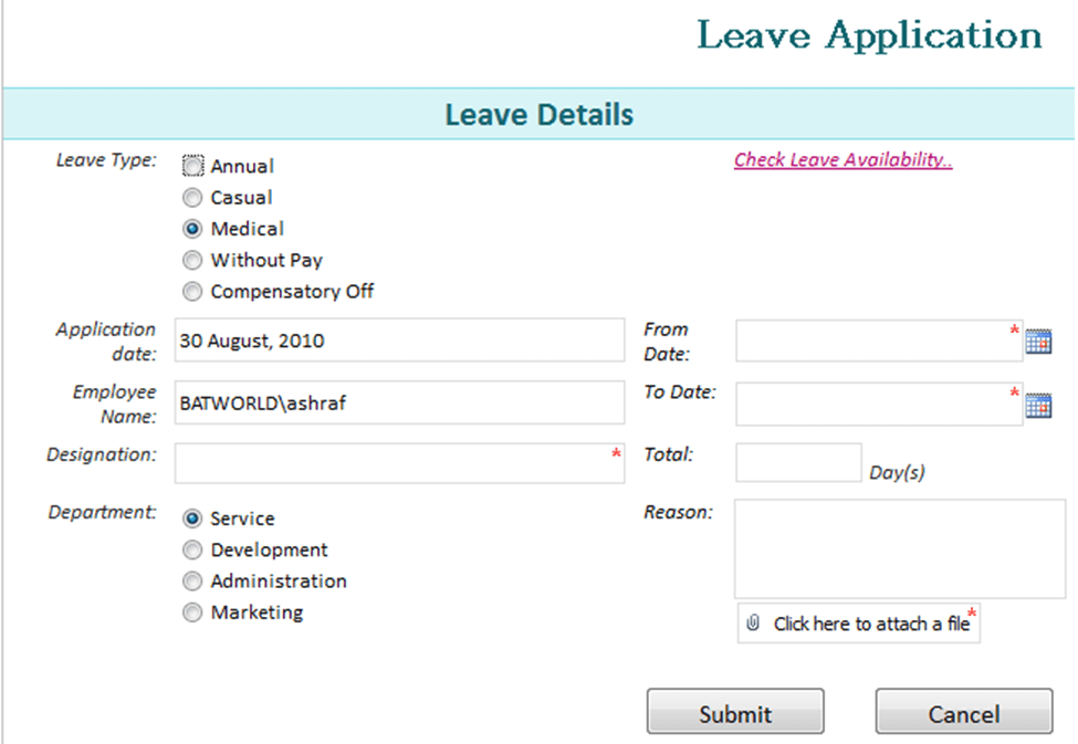 Doc694951 Format of Leave Application Form Application For – Format of Leave Form