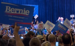 A lot of the rally I just saw a bunch of Bernie signs being waved.