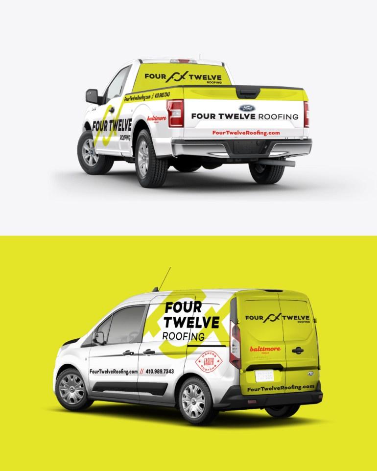 Four Twelve Roofing Truck and Van Vehicle Wraps