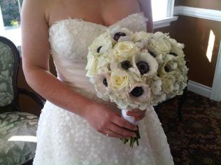 Bridal bouquet with white and black anemones