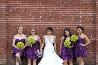 Green orchid bridesmaids bouquets