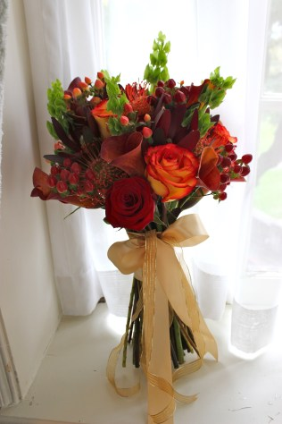 Fall Bridal Bouquet of Roses, Protea, Leucadendron, Hypericum Berries, Calla Lilies and Belles of Ireland
