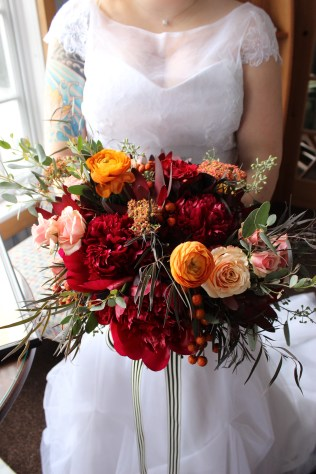 Fabulous Rustic Fall Bridal Bouquet with Peonies