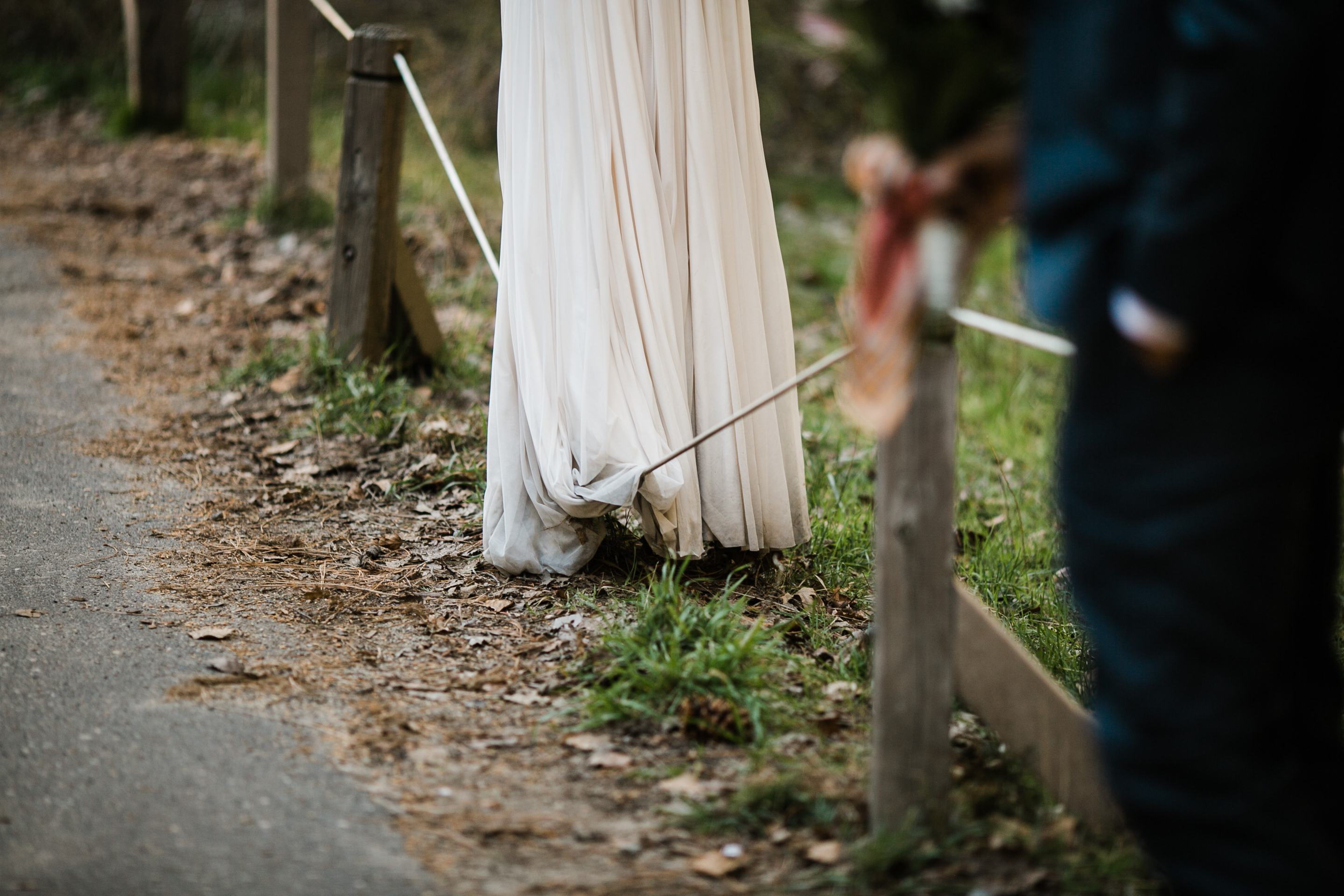 Kim shows off her slack lining skills in her wedding dress at Yosemite.