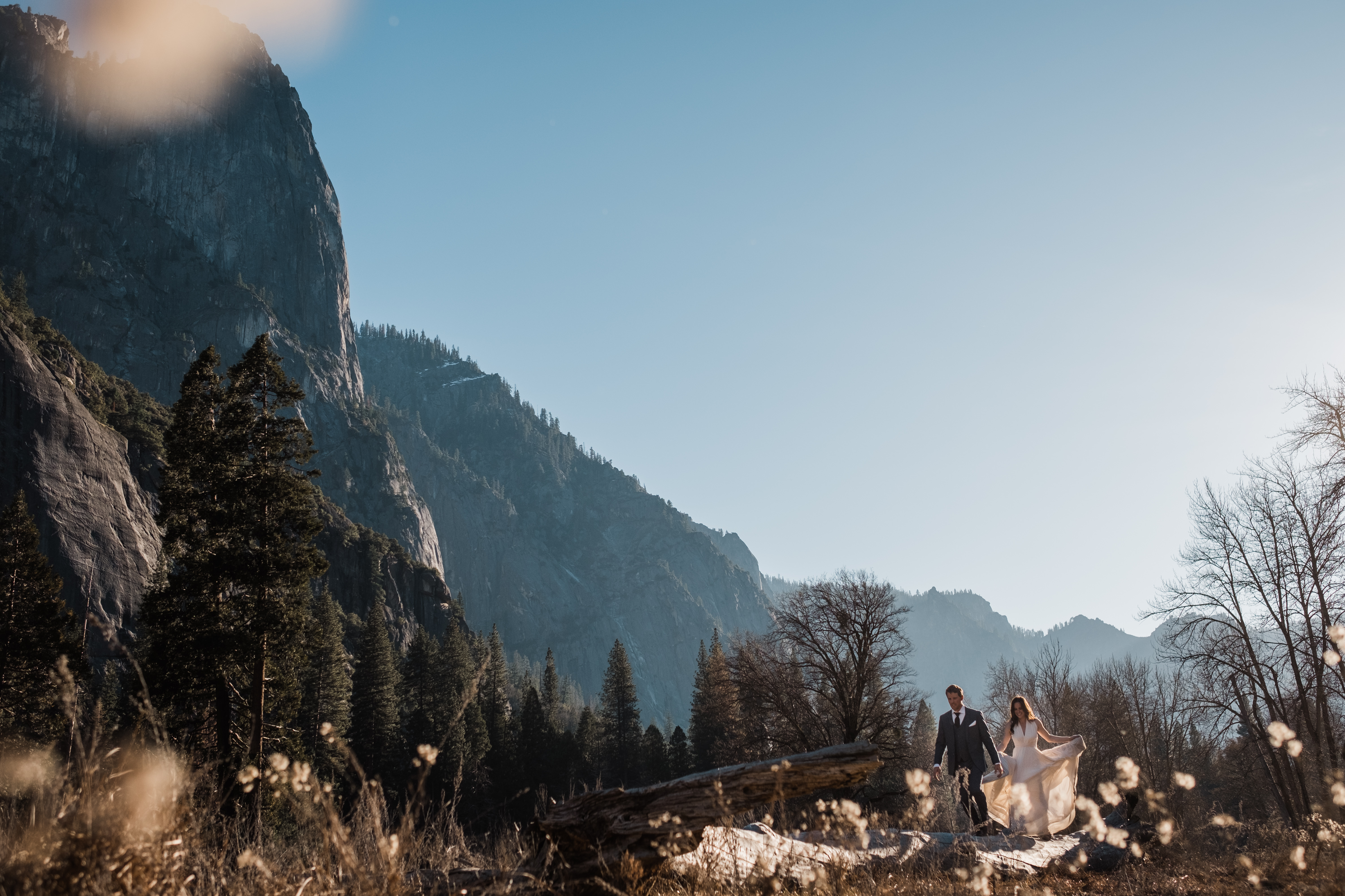 The meadows of the Yosemite Valley come alive in the afternoon golden hour for Ryan and Kim's adventure wedding.