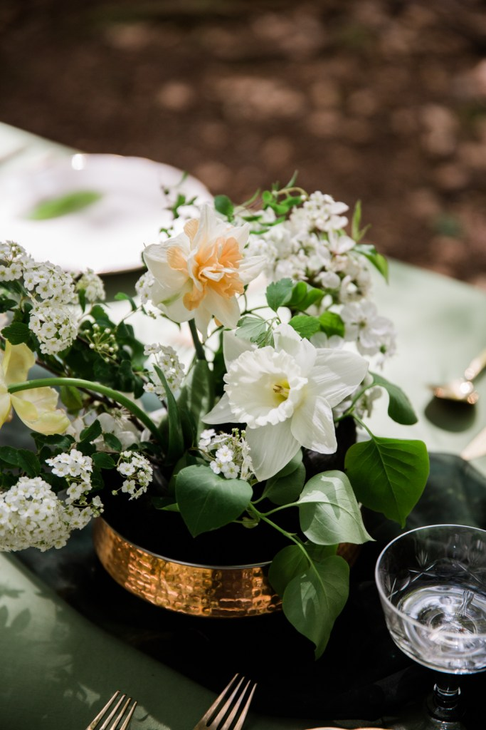 The flowers for this elopement were mostly foraged from the green valleys of the French Alps.