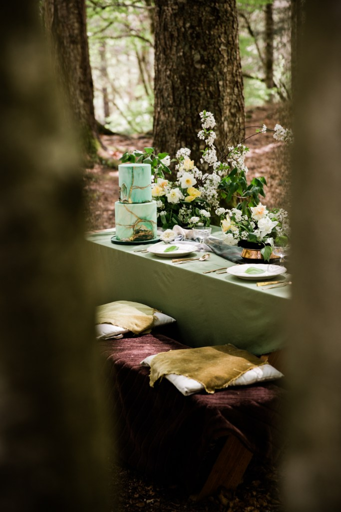 A peek through the trees at this enchanting alpine elopement setting.