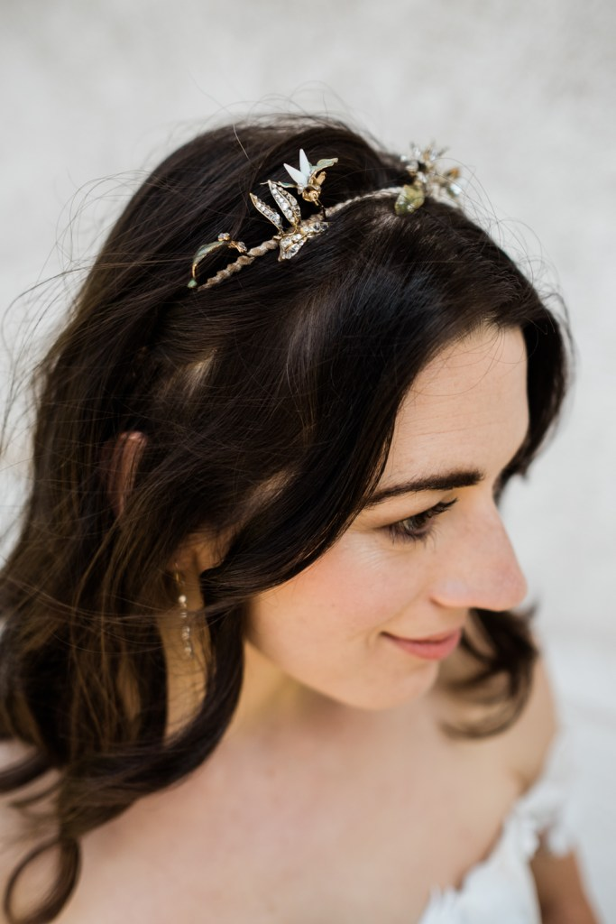 This gorgeous whimsical tiara by Cecile Bocarra is perfect for an alpine or forest elopement.