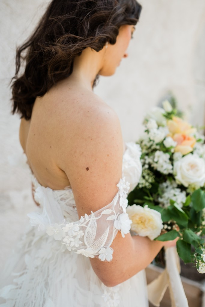 Bohemian luxe details on this elopement dress.