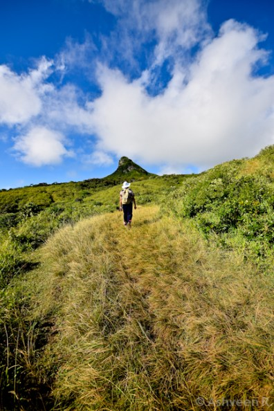 Climbing Le Pouce Mountain