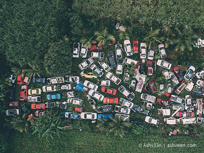 Drone Mauritius - Car Cemetery Mare DAlbert
