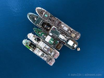 Drone Mauritius-Port Louis Harbour Fishing Ships