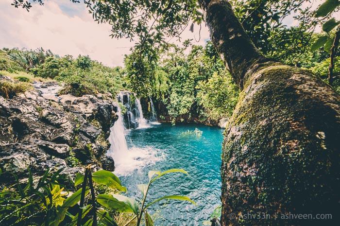 Eau Bleue Mauritius - Waterfall 1 Side View