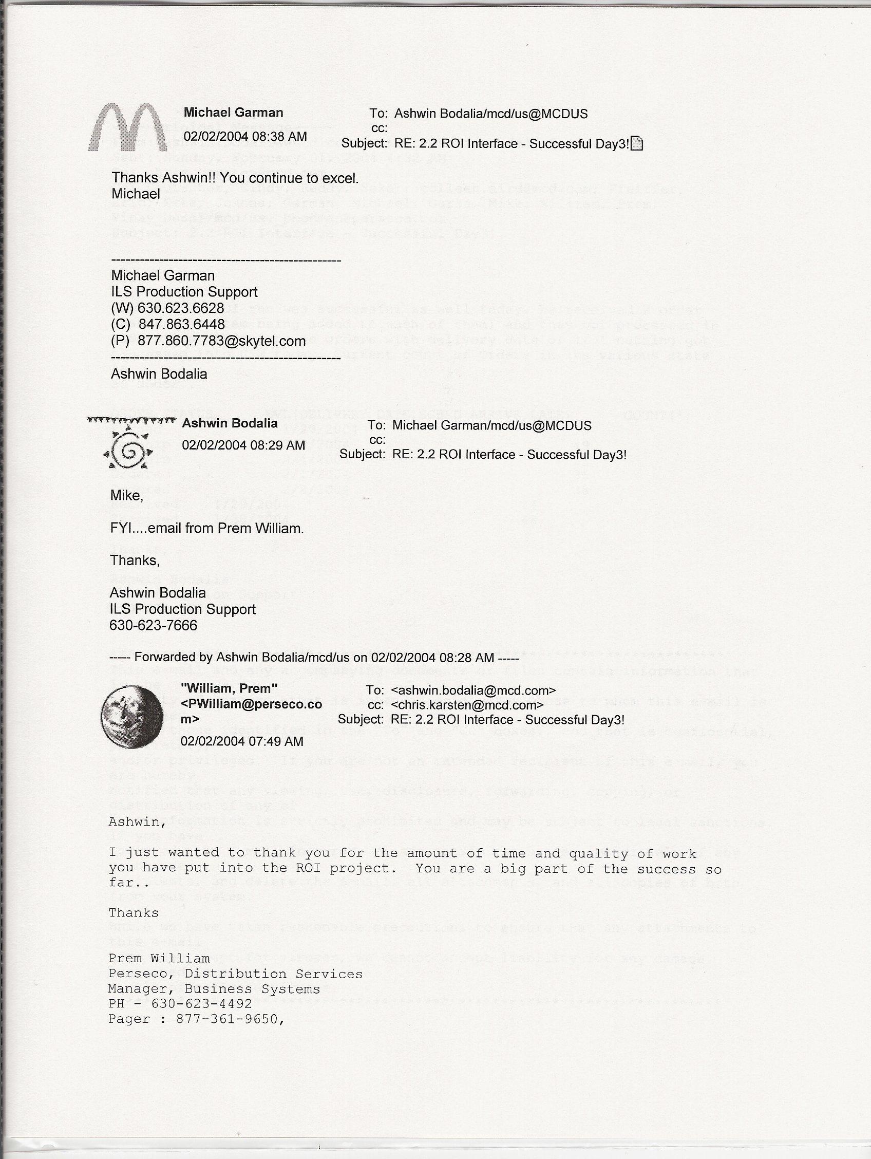 work appreciation emails mcdonald s project
