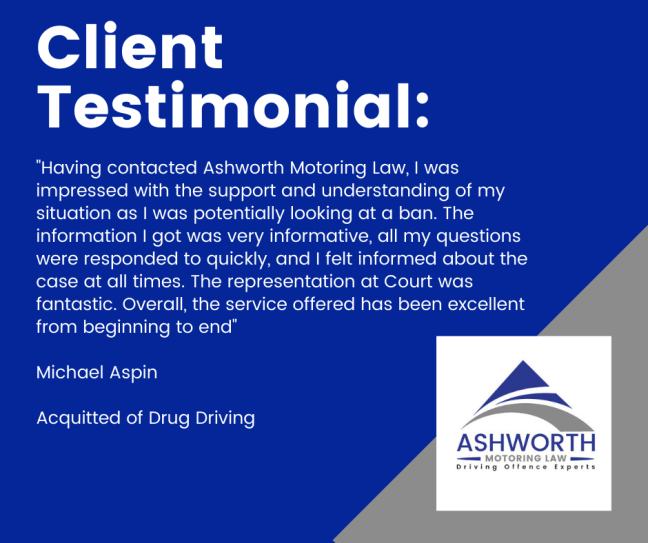 Client testimonial about a drug driving case which resulted in a finding of not guilty
