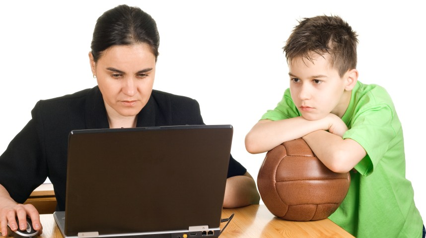 Busy mother who don't have time to play with her son