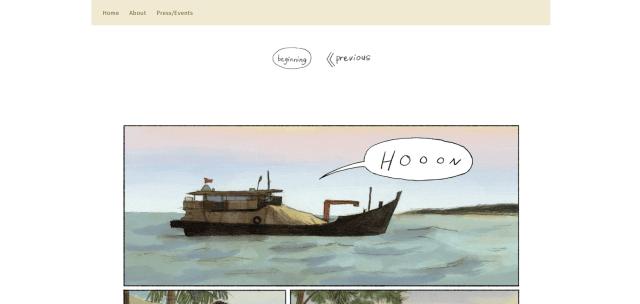 Screenshot of front of website for Malaysian Artist Friedrice Comic