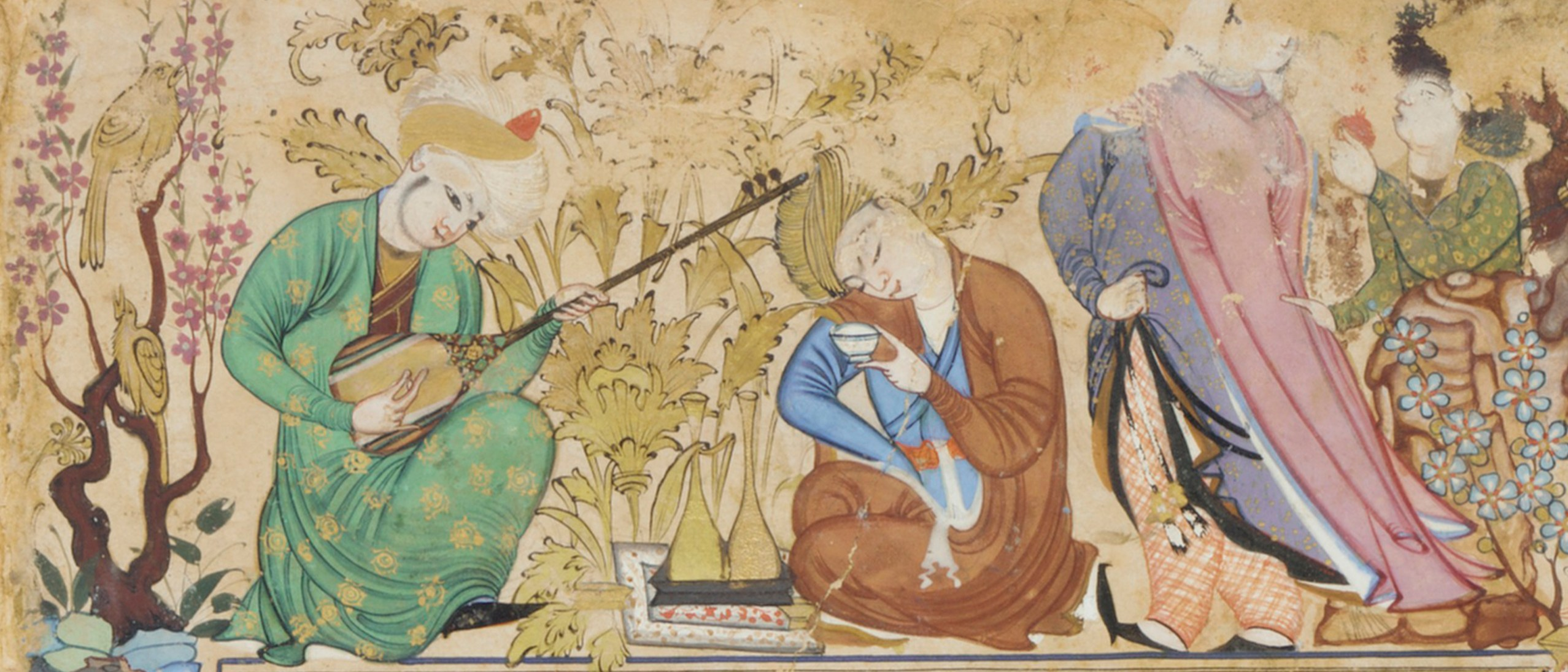 This image of a setar player appears in a painting that was created around 1600 in present-day Uzbekistan. The musician performs for a companion who is drinking a cup of wine. Detail, album folio, A Seated Princess (Right-Hand Half of a Double-Page Composition), painting attributed to Muhammad-Sharif Musawwir, borders signed by Muhammad Murad Samarqandi; ca. 1600; opaque watercolor and gold on paper; origin: possibly Bukhara, Uzbekistan. Purchase--Smithsonian Unrestricted Trust Funds, Smithsonian Collections Acquisition Program, and Dr. Arthur M. Sackler. S1986.304