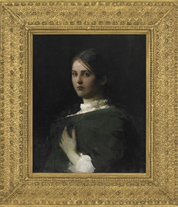 Oil portrait of a young woman in dark, neutral tones, in a gilded frame.