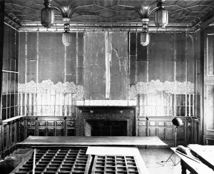 Black and white photograph of the Peacock Room